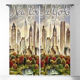 Vintage New York Central Park United Airlines Advertisement Poster Blackout Curtain