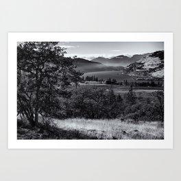 Scenic Columbia River Gorge in Black and White Art Print