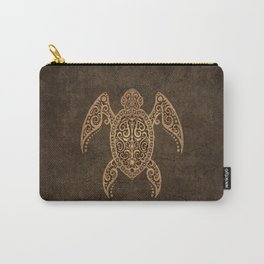 Intricate Vintage and Cracked Sea Turtle Carry-All Pouch