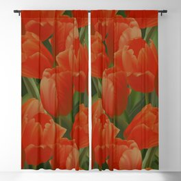 Red Tulips Field Blackout Curtain