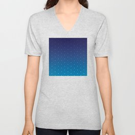 Floral Pattern of Abstract Pinwheels in Blue Gradient Ombré Unisex V-Neck