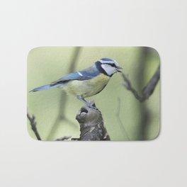 cinciarella blue tit bird on tree Bath Mat