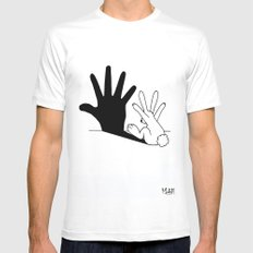 Rabbit Hand Shadow White LARGE Mens Fitted Tee