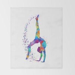 Colorful Gymnastics Tumbling Watercolor Art Throw Blanket