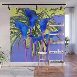 MODERN BLUE CALLA LILIES YELLOW GARDEN Wall Mural