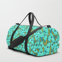 Blue Puya, Floral Pattern, turqouise, teal and yellow Duffle Bag