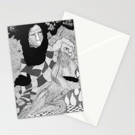 Jesus and Mary - Abstract Ink Drawing Stationery Cards