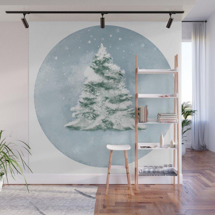 Winter pine tree Wall Mural