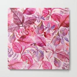 Pink and Purple Leaves in Watercolor Metal Print