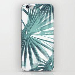 Teal Aqua Tropical Beach Palm Fan Vector iPhone Skin