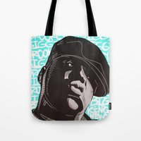 biggie smalls Tote Bags featuring Biggie Smalls by Art By Ariel Cruz