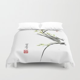 Green Wild Orchid Two Duvet Cover