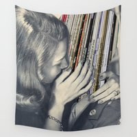 vinyl Wall Tapestries featuring mrs. Vinyl by Blaz Rojs