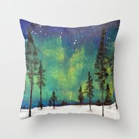 northern lights Throw Pillows featuring Northern Lights by Ruth Oosterman
