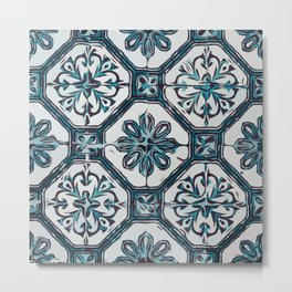 Floral ceramic tile design in blue color #Terrazzo #Blobs Metal Print