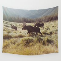 kevin russ Wall Tapestries featuring Three Meadow Moose by Kevin Russ