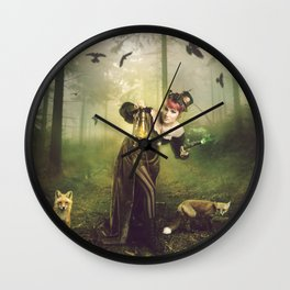Foxes and crows Wall Clock