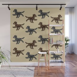 Flat Coated Retrievers Black and Liver V2 Wall Mural