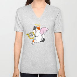 Catty Cat Cupid Cat Angel with Harp Unisex V-Neck