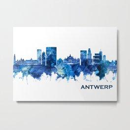 Antwerp Belgium Skyline Blue Metal Print