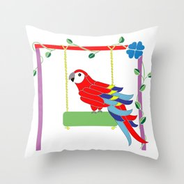 Scarlet macaw in the playground Throw Pillow