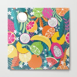 Tropical fruit pattern 02 Metal Print