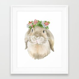 Lop Rabbit Floral Wreath Watercolor Painting Framed Art Print