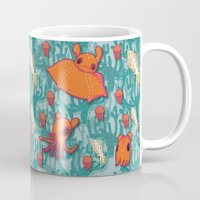 dumbo Mugs featuring Dumbo Octopi & Squid - Blue by Amy Jeanne WPG