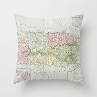 puerto rico Throw Pillows featuring Vintage Map of Puerto Rico (1901) by BravuraMedia
