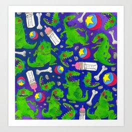 Reptar Rugrats 90s pattern Nickelodeon Art Print
