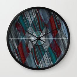 Geometric Abstract - Modern Abstract - Geometric Pattern - Pattern Design - Blue, Grey - Wood Grains Wall Clock
