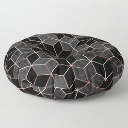 Abstract hexagons geometric sparkle pattern with gold foil pink lines and gray. Watercolor polygons. Metallic golden hexagon abstract texture on black background illustration Floor Pillow