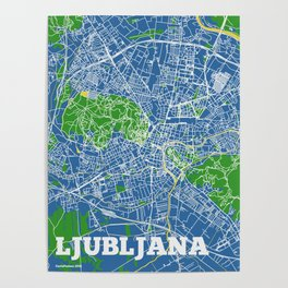 Ljubljana, Slovenia street map Poster