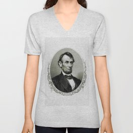 Engraving and anonymous portrait of Abraham Lincoln Unisex V-Neck