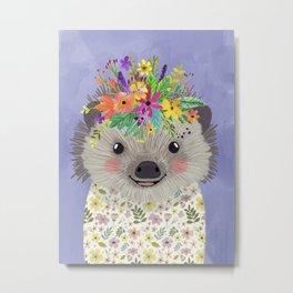 Hedgehog with floral crown Metal Print
