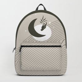 Moon Phases Abstract in Warm Grey and Black Backpack