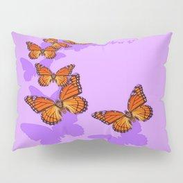 Monarch Butterflies Migration in Lilac Purple Graphic Art Pillow Sham