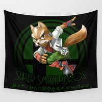 super smash bros Wall Tapestries featuring Fox - Super Smash Bros. by Donkey Inferno