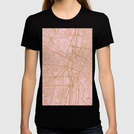 Pink and gold Medellin map, Colombia T-shirt