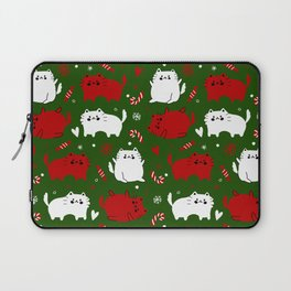 Christmas Cats and Candy Canes (Green) Laptop Sleeve