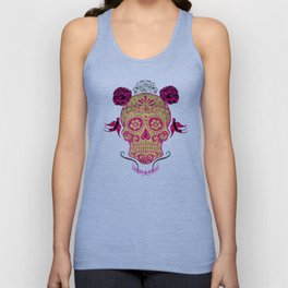 Sugar Skull Green and Pink Unisex Tank Top