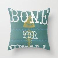 boardwalk empire Throw Pillows featuring bone for tune (boardwalk empire) by christopher-james robert warrington