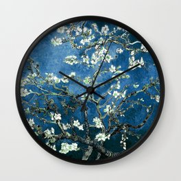 Van Gogh Almond Blossoms : Ocean Blue Wall Clock