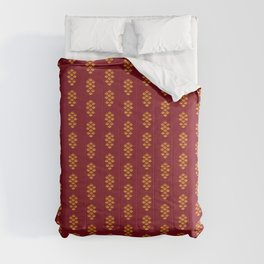 Minimalist Abstract Decorative Textured Pine Cone Botanical Modern Pattern, Gold and Red Color Comforters