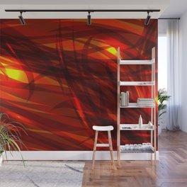 Glowing cosmic orange background made of black red metallic lines. Wall Mural
