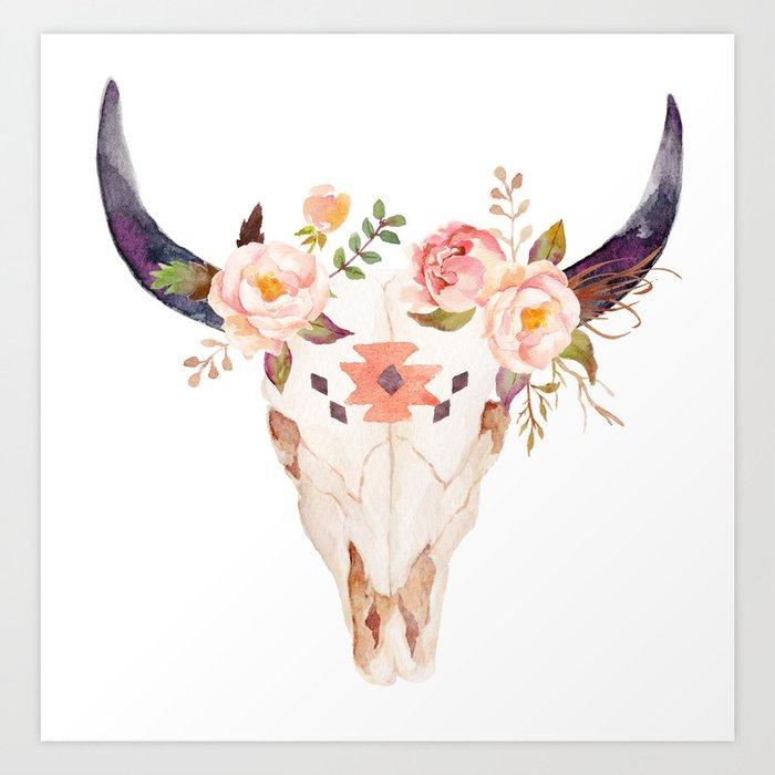 Bull Head Skull Boho Flowers Art Print