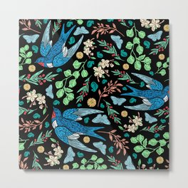 Blue Swifts and Butterflies In The Garden Metal Print