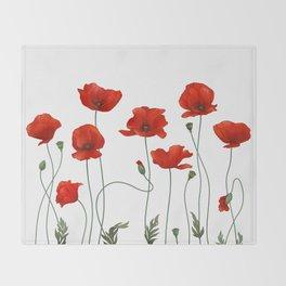Poppy Stems Throw Blanket