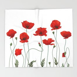 Poppy Stems Throw Blanket