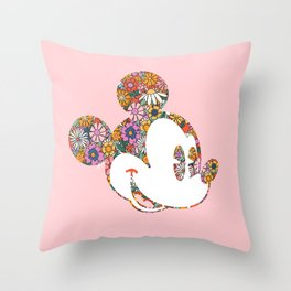 """""""Floral Mickey Mouse"""" by Andrea Lauren Throw Pillow"""